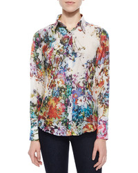 Georg roth los angeles long sleeve floral print blouse medium 582944