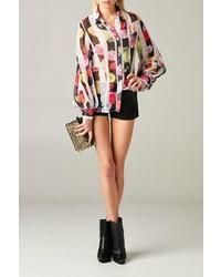 Mhgs floral stripe blouse medium 704037
