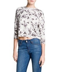 Mango Outlet Floral Print Cotton Blend Sweater