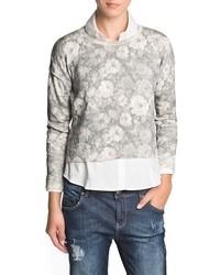 Mango Outlet Floral Print Crop Sweater