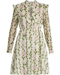 Giambattista Valli Floral Print Long Sleeved Silk Chiffon Dress