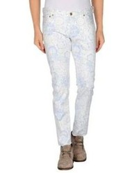 White Floral Chinos