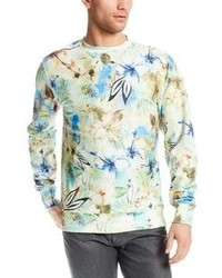 White Floral Crew-neck Sweater