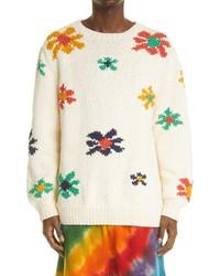 The Elder Statesman Flower Blast Organic Cotton Sweater