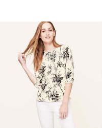 Loft floral print cotton sweater medium 83980