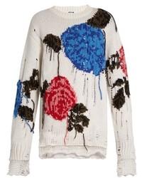 MSGM Floral Intarsia Wool Blend Sweater