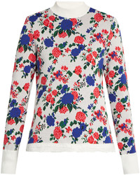 MSGM Floral Print High Neck Sweater