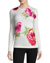 Naeem Khan Nem Khan Long Sleeve Floral Appliqu Sweater Ivorypink