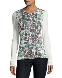 Neiman Marcus Cashmere Collection Superfine Floral Print Cashmere Crewneck Top
