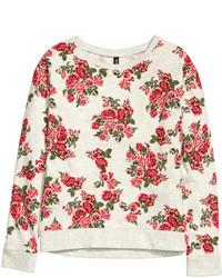 H&M Sweatshirt With Printed Design Blackwhite Patterned Ladies