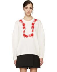 Giambattista Valli White And Red Floral Sweatshirt