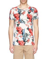 Scotch & Soda Floral Print Linen Blend T Shirt