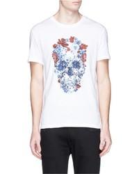Alexander McQueen Floral Skull Print T Shirt