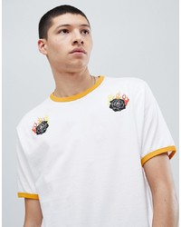 ASOS DESIGN Relaxed T Shirt With Floral Fire Print And Contrast Ringer