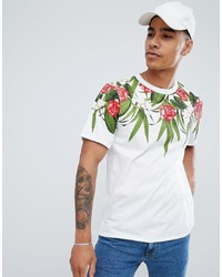 Pull&Bear T Shirt In White With Floral Print
