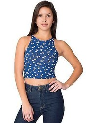 18057ccf0e4 $24, American Apparel 8369p Floral Print Cotton Spandex Jersey Sleeveless  Crop Top