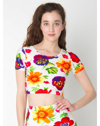 American Apparel Floral Print Short Sleeve Crop Top