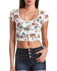 Charlotte Russe Floral Print Cotton Short Sleeve Crop Top
