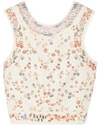 Etro Cropped Floral Print Leather Top
