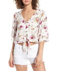 Floral tie hem crop top medium 4154550