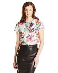 Glamorous Short Sleeve Floral Botanical Printed Crop Top