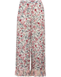 See by Chloe See By Chlo Cropped Ruffled Floral Print Crepe De Chine Wide Leg Pants Off White