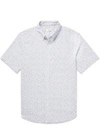 Button down collar floral print cotton oxford shirt medium 3772226