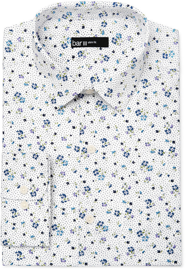 90c69a32634f Bar III Slim Fit White Ground Floral Print Dress Shirt Only At Macys ...