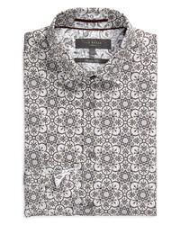Ted Baker London Trim Fit Floral Print Stretch Dress Shirt
