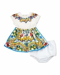 Dolce & Gabbana Cap Sleeve Floral Majolica Combo Dress White Size 3 24 Months