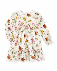 Gucci Long Sleeve Floral Bee Voile Dress Ivory Size 6 36 Months