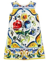 Dolce & Gabbana Sleeveless Floral Majolica Shift Dress White Size 8 12