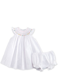 Luli & Me Sleeveless Floral Trim Bishop Dress W Bloomers White Size 3 24 Months