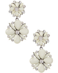 Tj Designs White Spring Floral Drop Earrings