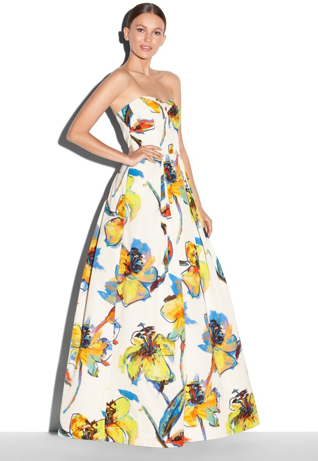 Milly Pop Art Floral Print Ava Strapless Gown | Where to buy & how ...