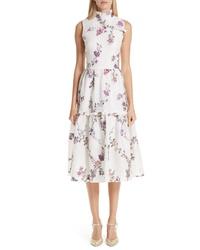 MALENE ODDERSHEDE BACH Floral Jacquard Midi Dress