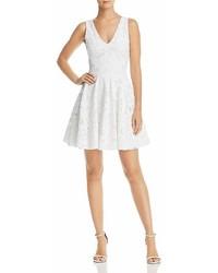 Aqua Floral Mesh Fit And Flare Dress 100%