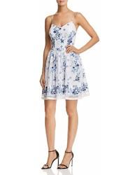 Aqua Floral Print Mesh Fit And Flare Dress 100%