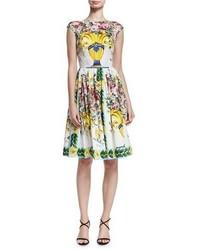 Dolce & Gabbana Floral Vase Cap Sleeve Fit Flare Dress