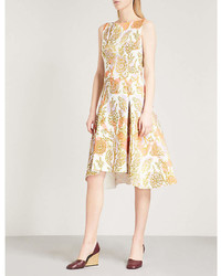 Peter Pilotto Foiled Floral Print Sleeveless Fit And Flare Woven Dress