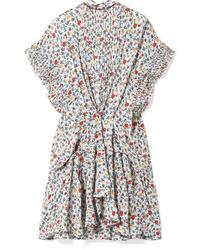 Chloé Med Pleated Floral Print Tte Mini Dress