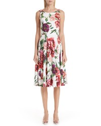 Dolce & Gabbana Peony Print A Line Dress