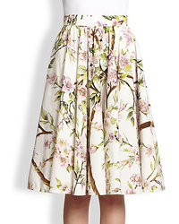 White Floral Full Skirt
