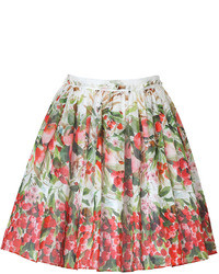 RED Valentino Black Cherry Multi Watercolor Print Cotton Skirt
