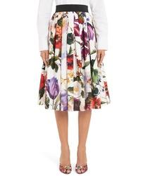 Dolce & Gabbana Floral Print A Line Poplin Midi Skirt