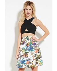 Forever 21 Floral Print A Line Skirt