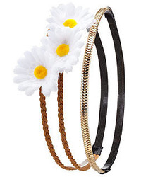 Charlotte Russe Double Daisy Crown Chain Headband 2 Pack