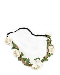 Fashionwu Boho Flower Hairband Party Wedding Headbands Beige