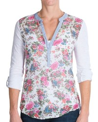 White Floral Henley Shirt
