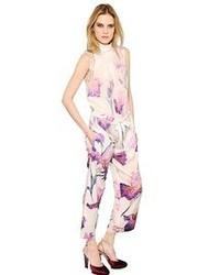 Nina Ricci Floral Printed Silk Crepe Jumpsuit